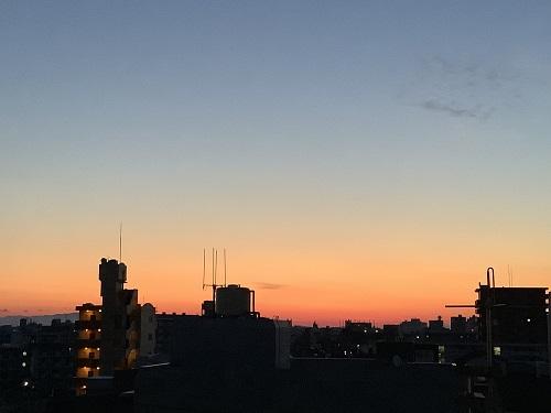 徳島市の朝焼け